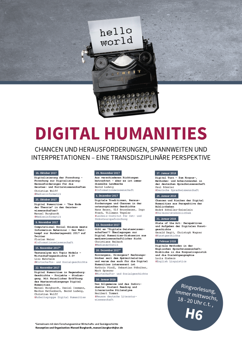 Ringvorlesung Digital Humanities, Ansprechpartner Manuel Burghardt